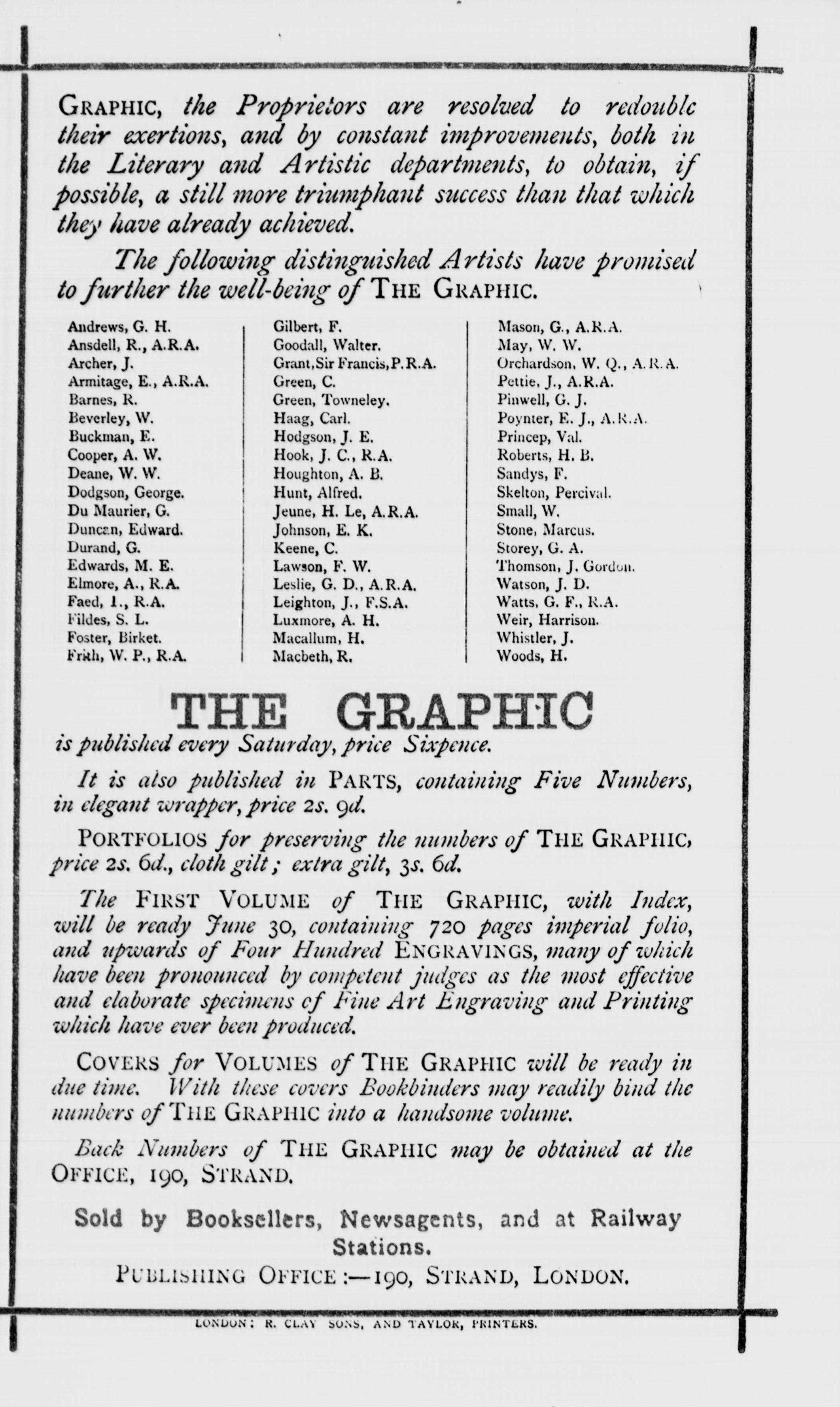Figure 25a Advertisement for the early Graphic, North British Review, Jan. 1871