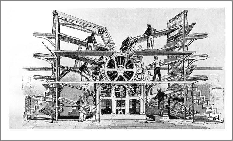 Figure 62: An illustration showing the small steam engine used to drive one of the Applegath and Cowper presses at The Times in 1814